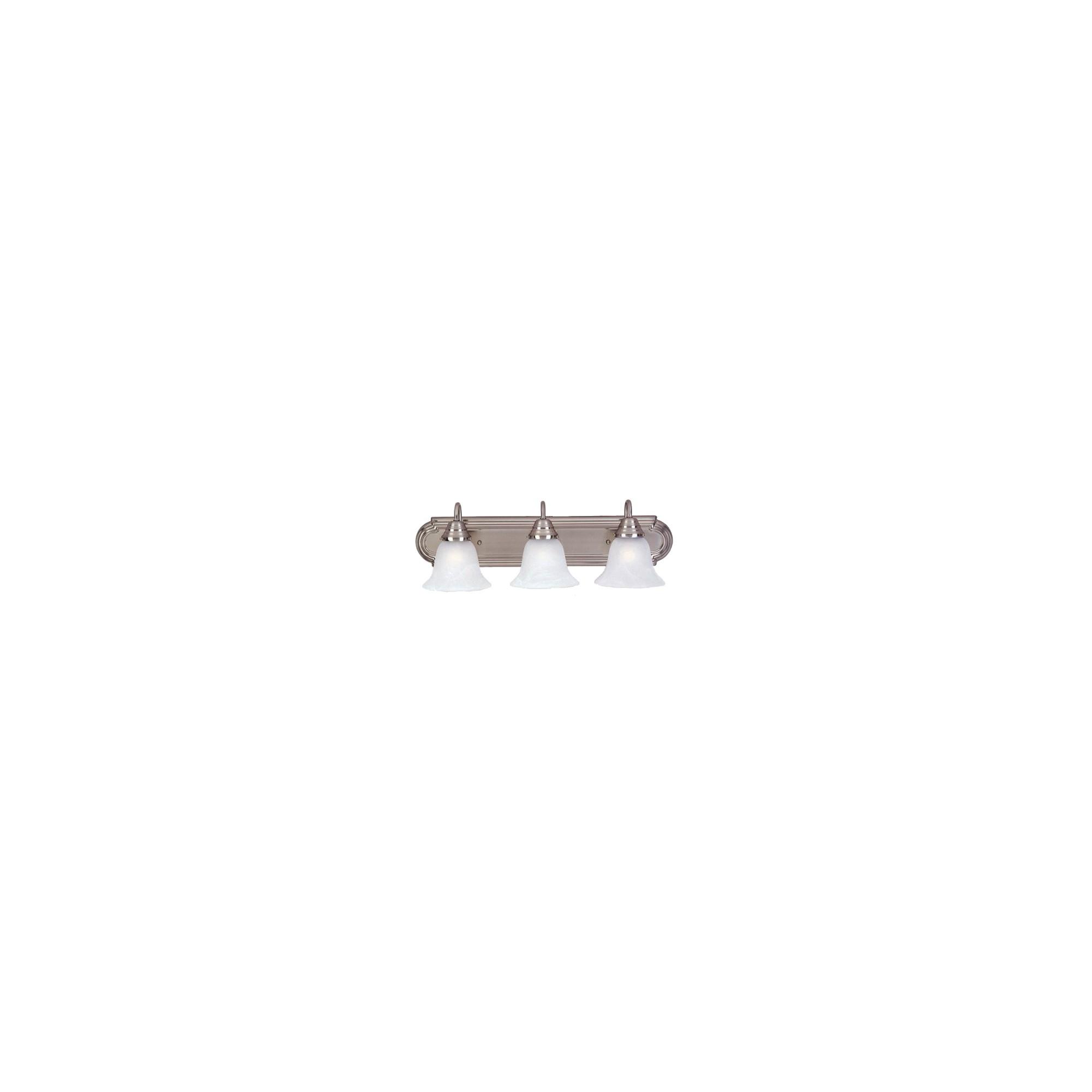 Casual Satin Nickel 3-Bulb Vanity - Marble Shade