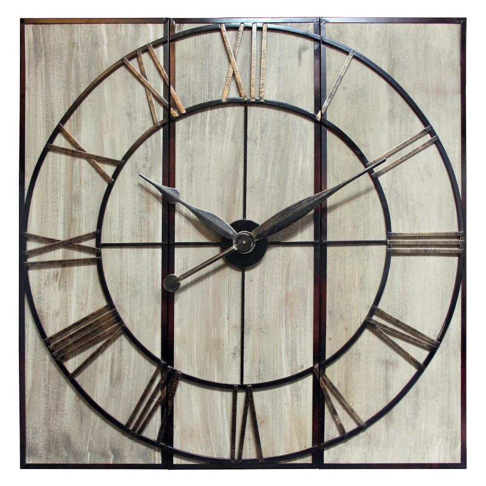 Infinity Instruments Oversized Panel Decorative Wall Clock Brass
