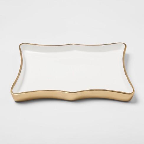 Aluminum Decorative Tray - White/Gold - Threshold™ - image 1 of 2