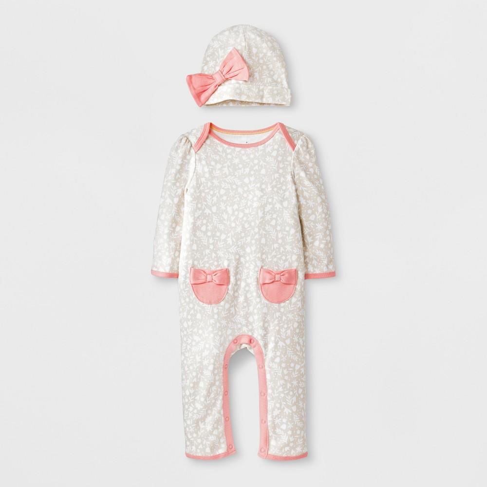 Baby Girls' 2pc Romper & Hat Set - Cloud Island White Newborn