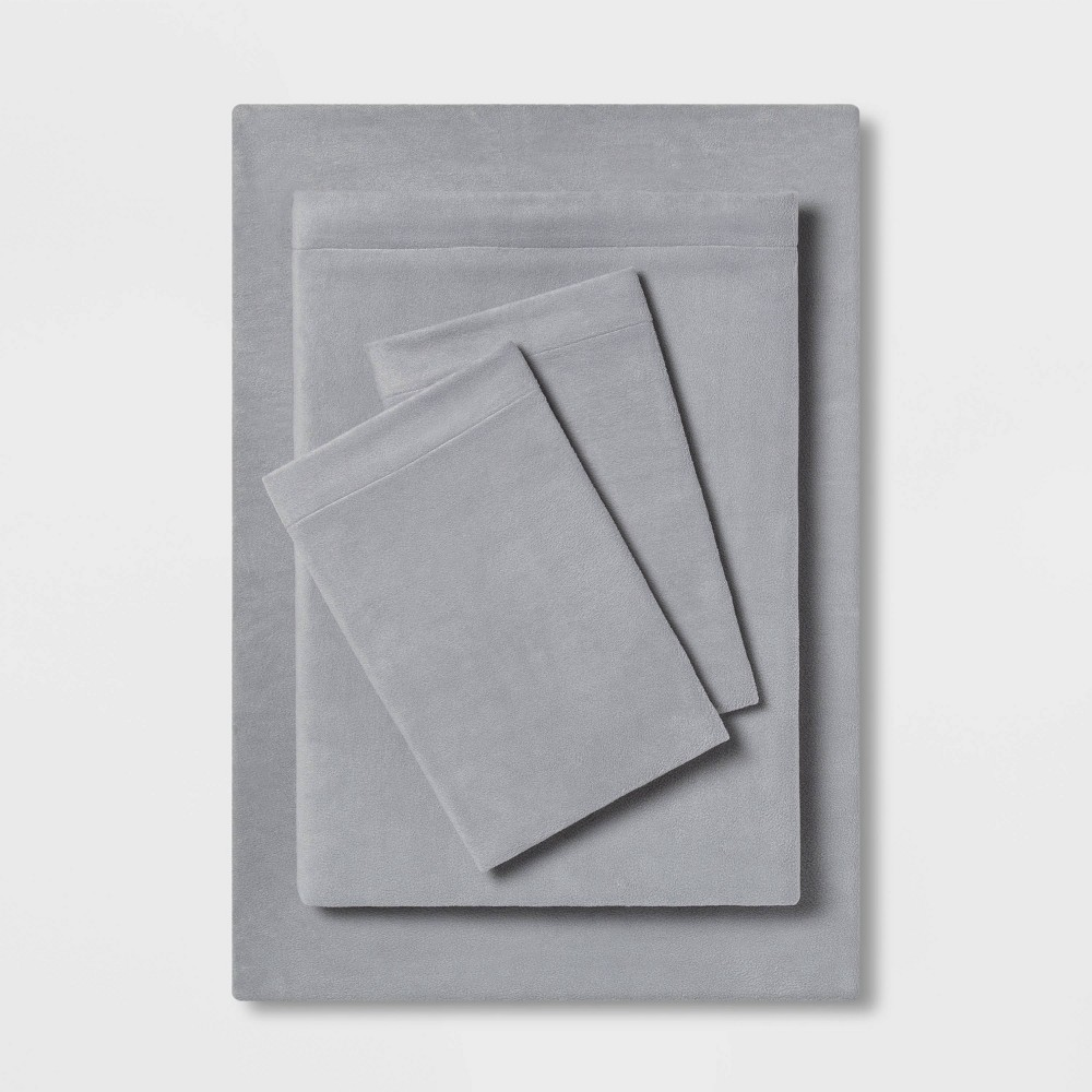 California King Solid Fleece Sheet Set Gray - Room Essentials was $39.99 now $19.99 (50.0% off)