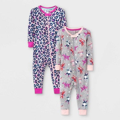 Baby Girls' 2pk Leopard Tossed Animal Print Snug Fit Pajama Romper - Cat & Jack™ Pink