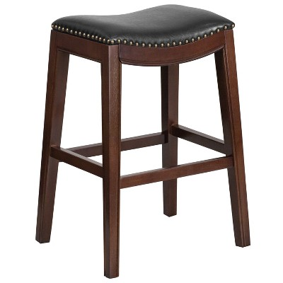 """Emma and Oliver 30""""H Backless Cappuccino Wood Barstool with Saddle Seat"""