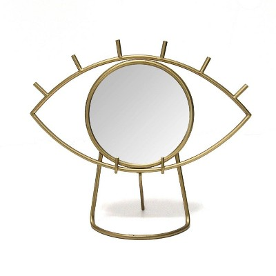 "14"" x 11.5"" Gold Eye Tabletop Mirror Gold - Stratton Home Décor"