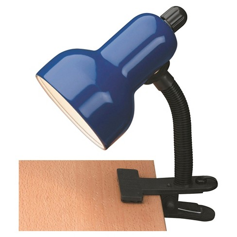 Lite Source Clip-On 1 Light Table Lamp - Black with Blue Shade - image 1 of 1