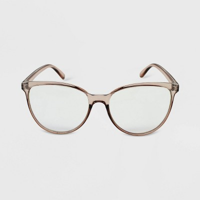 Women's Crystal Oversized Cateye Blue Light Filtering Glasses  - Wild Fable™ Brown