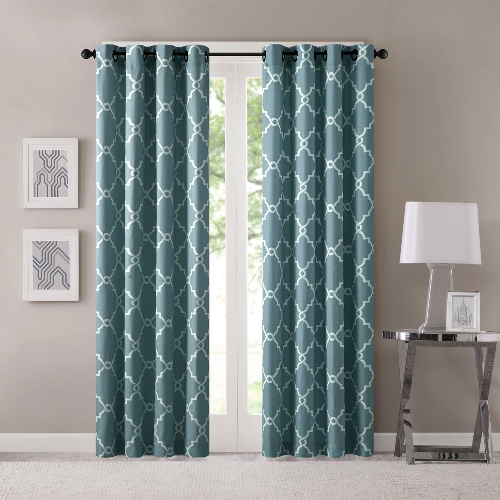 Sereno Fretwork Print Curtain Panel Blue (50