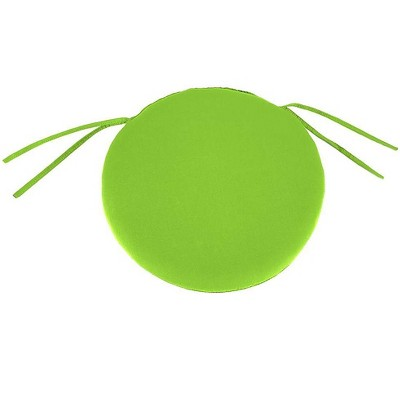 """Plow & Hearth - Polyester Classic Round Chair Cushion With Ties, 16"""" x 2"""", Greenery"""
