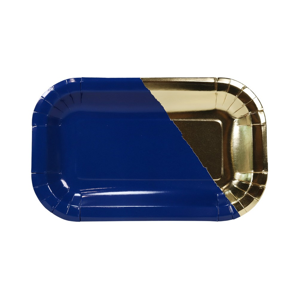 Image of 20ct Rectangle Foil Snack Plates Navy/Gold - Spritz