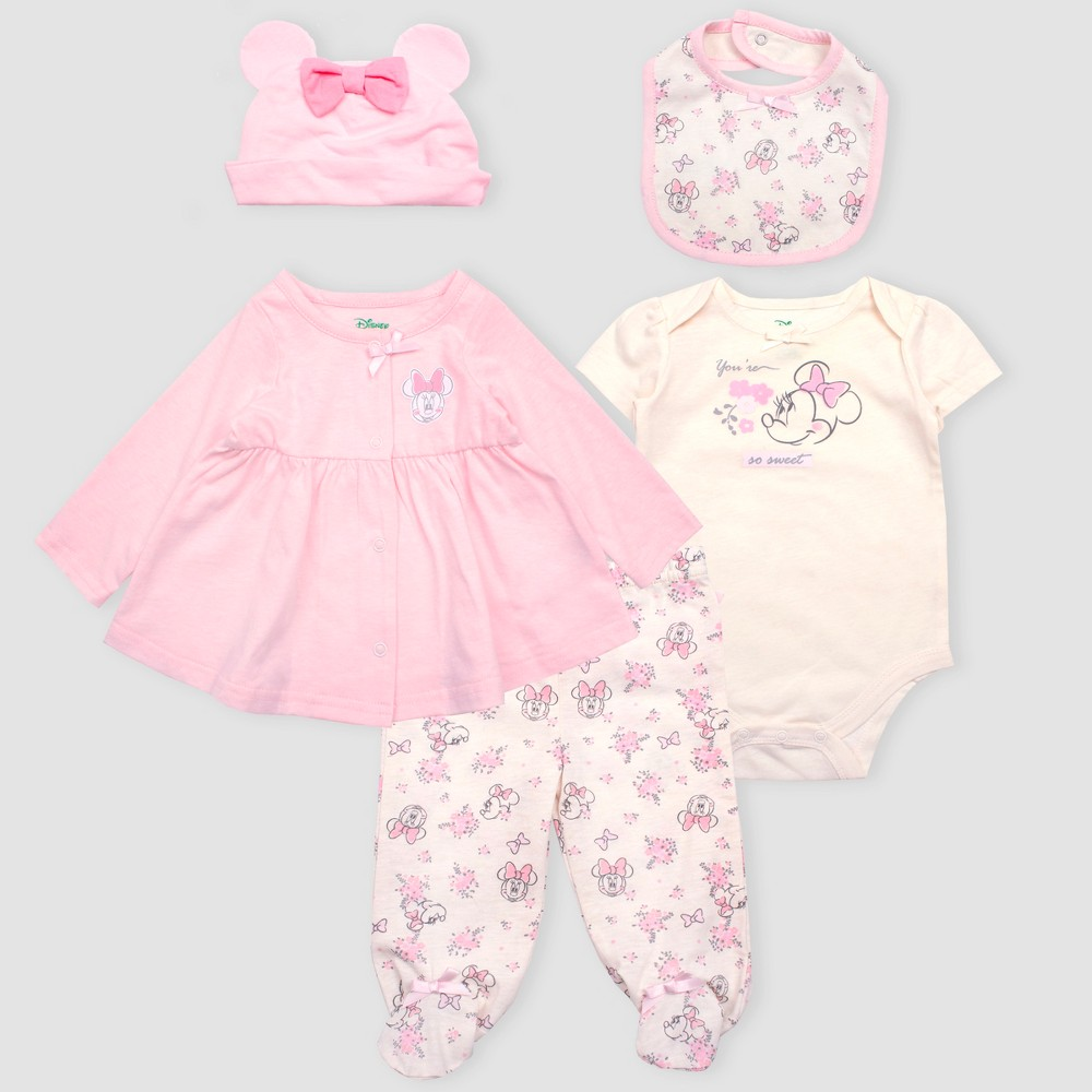 Image of Baby Girls' Disney Mickey Mouse & Friends Minnie Mouse 5pc Bodysuit and Lounge Pants Set - Pink/White Newborn, Girl's