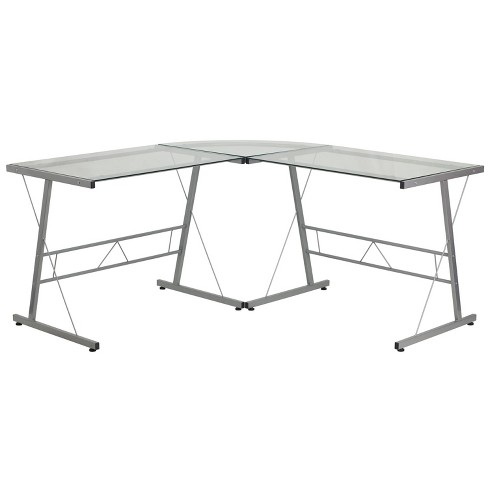 Glass L-Shape Computer Desk with Silver Frame Finish - Flash Furniture - image 1 of 2