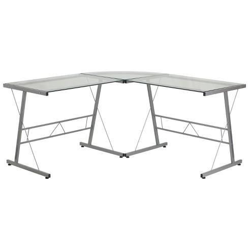 Glass L Shape Computer Desk With Silver, Flash Furniture Computer Desk