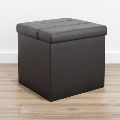 Foldable Square Storage Ottoman with Channel Tufting Black Faux Leather - Brookside Bed