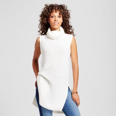 Women s Sleeveless Turtleneck Tunic Sweater - Alison Andrews® White ... 3d261b75ee