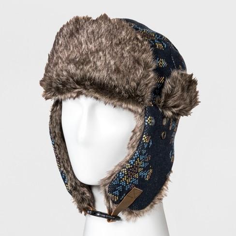 b9a69f5fdcc74 Men s Faux Fur Trim Knit Snowflake Trapper Hat - Goodfellow   Co™ Navy One  Size