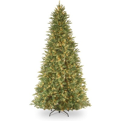 National Tree Company Feel Real 9 Foot Artificial Hinged Slim Bodied Prelit Tiffany Fir Christmas Tree with White Lights and Sturdy Metal Base Stand