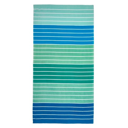 Stripe Beach Towel Blue/Green - image 1 of 1