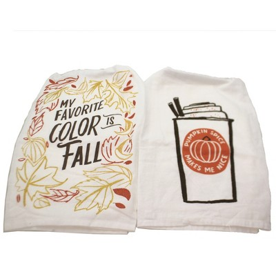 "Tabletop 28.0"" Pumpkin Spice & Favorite Color 100% Cotton Kitchen Clean Up Primitives By Kathy  -  Kitchen Towel"
