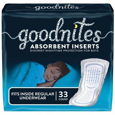 Goodnites Absorbent Bedwetting Underwear Inserts for Boys,  One Size (33ct)
