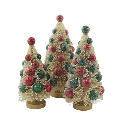 "Christmas 9.0"" White Bottle Brush Tree Set Of Three Red Green Ornament  -  Decorative Figurines"
