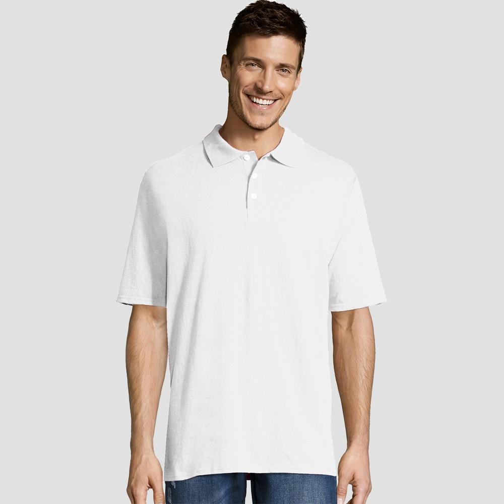 Hanes Men's Short Sleeve X-Temp Jersey Polo Shirt - White 2XL