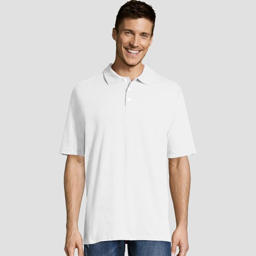 Hanes Men's Big & Tall X-Temp Jersey Polo Short Sleeve Shirt - White 3XL