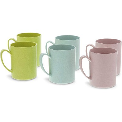 Okuna Outpost 6-Pack Unbreakable Wheat Straw Tea Cups Coffee Mugs with Handle 13.8 Oz, 3 Colors