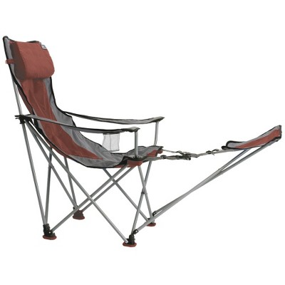 Travel Chair with Carrying Case with Footrest - Red/ Gray