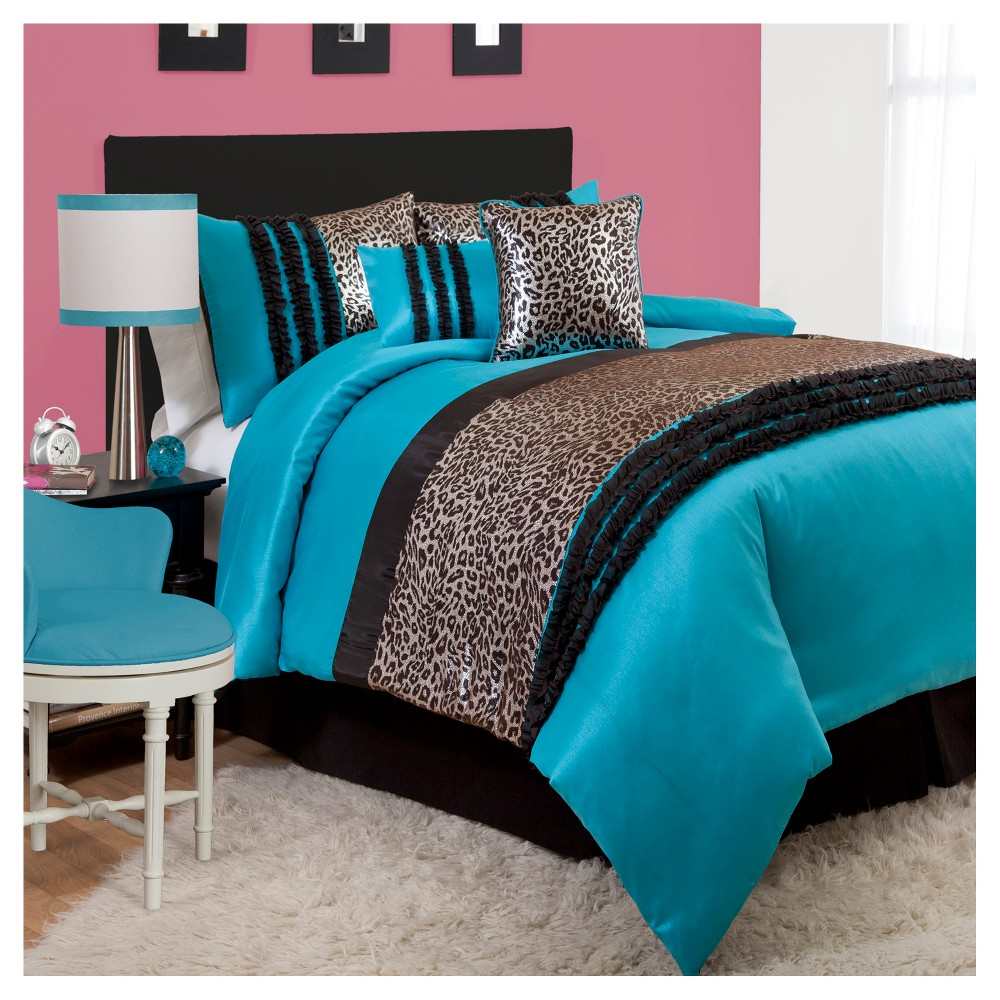 Blue Kenya Comforter Set (Full) 6pc - Lush Decor