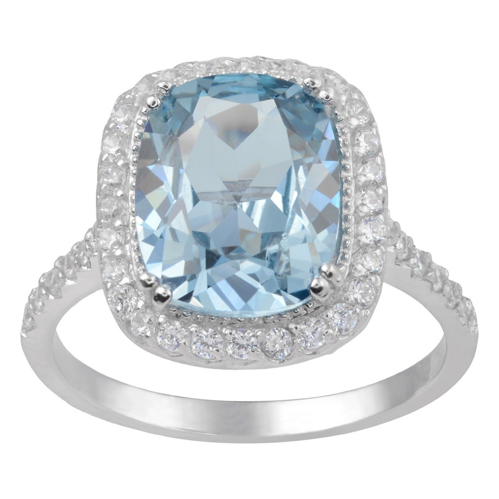 4 1/8 CT. T.W. Cushion-Cut Cubic Zirconia Basket Set Halo Ring in Sterling Silver - Blue (5), Girl's