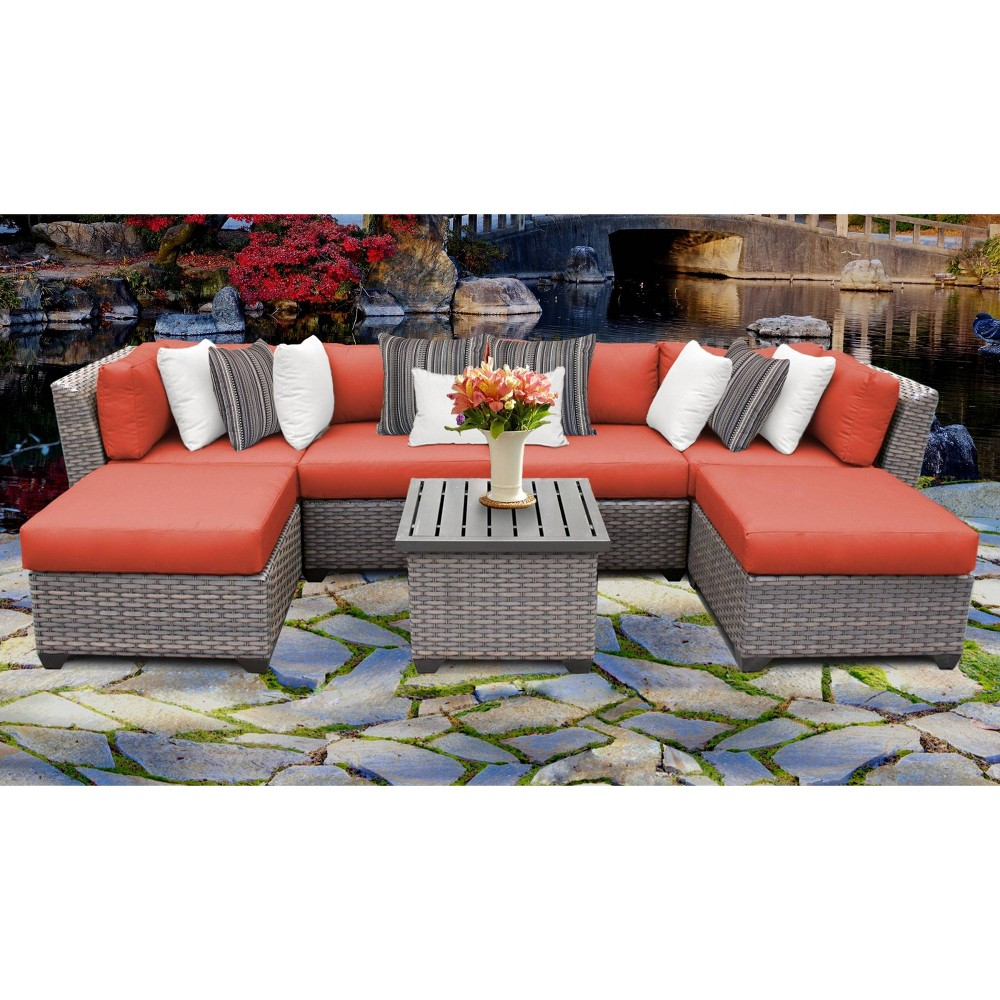 Florence 7pc Outdoor Sectional Seating Group With Cushions Tangerine Tk Classics
