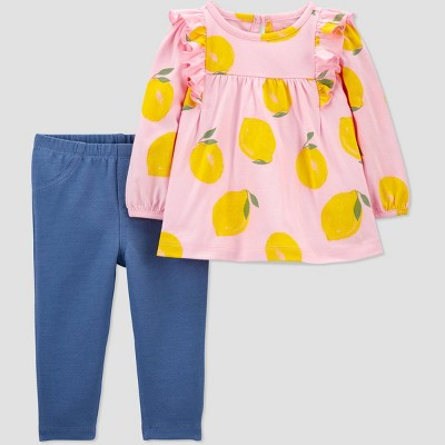 Baby Girls' 2pc Lemons Top & Bottom Set - Just One You® made by carter's Yellow/Pink