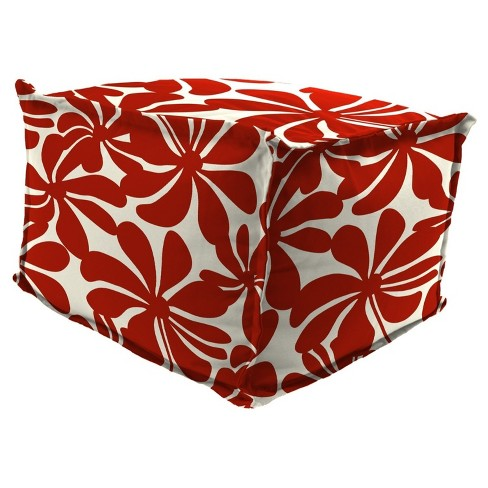 Outdoor Bean Filled Pouf/Ottoman In Twirly American Red  - Jordan Manufacturing - image 1 of 2
