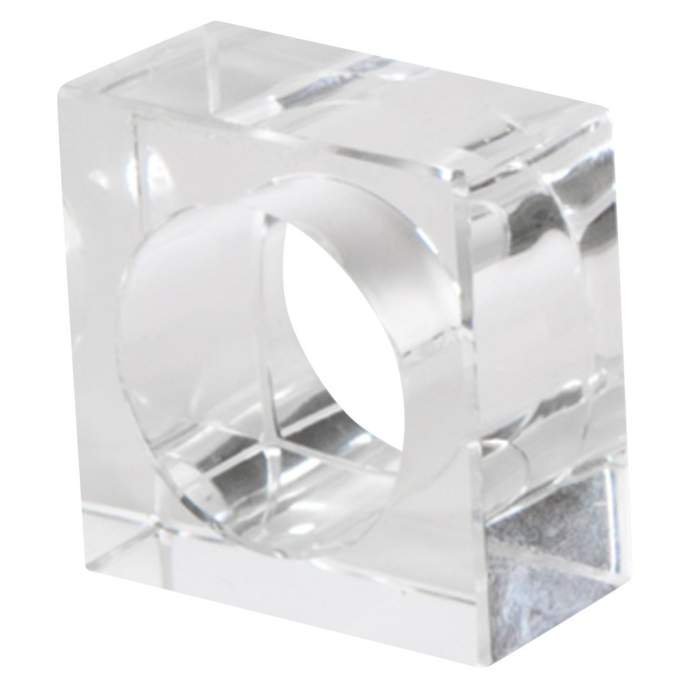 Image of Crystal Napkins Rings - Clear (Set of 4), Square Clear