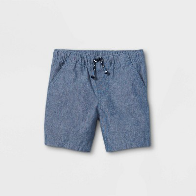 Toddler Boys' Woven Pull-On Shorts - Cat & Jack™ Blue Gray 12M