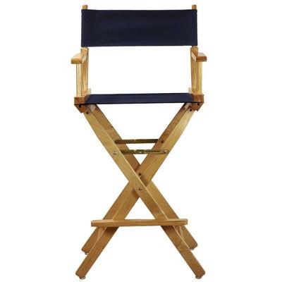 Bar-Height Director's Chair - Natural Frame, Blue Canvas, Blue Blue