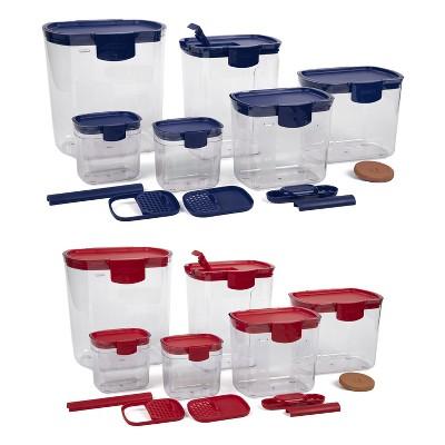 Progressive International Prepworks ProKeeper 12 Piece Kitchen Baker Clear Food Storage Organization Container Set, Blue and Red