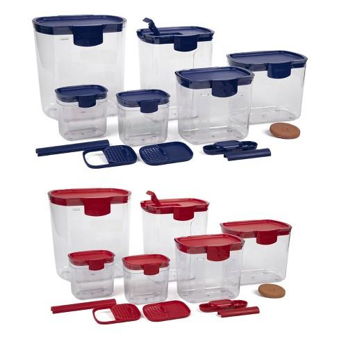 Progressive International Prepworks ProKeeper 12 Piece Kitchen Baker Clear Food Storage Organization Container Set, Blue and Red - image 1 of 4