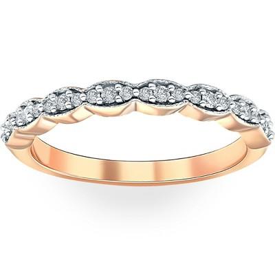 Pompeii3 1/5 cttw Diamond Stackable Womens Wedding Ring 14k Rose Gold