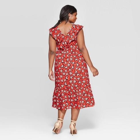 d3720648e5865 Women's Plus Size Floral Print Sleeveless Ruffle V-Neck Maxi Dress - Who  What Wear™ Black