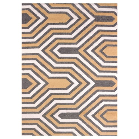 "Yellow Geometric Hooked Area Rug - (5'3""x7') - United Weavers - image 1 of 1"