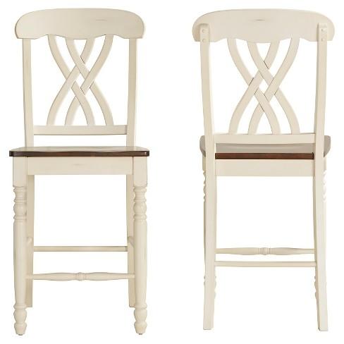 Fantastic 24 Set Of 2 Countryside Counter Stools Antique White Inspire Q Lamtechconsult Wood Chair Design Ideas Lamtechconsultcom