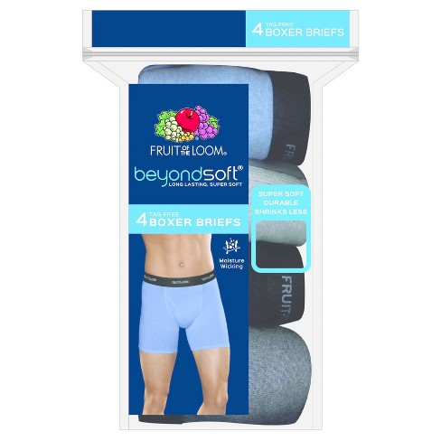 Fruit of the Loom® Men's 4pk Beyond Soft Boxer Briefs - Blue/Black/Gray - image 1 of 2