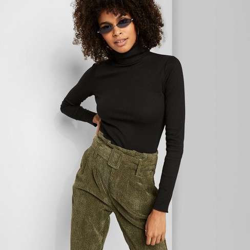 Women's Long Sleeve Mock Turtleneck Rib-Knit T-Shirt - Wild Fable™ Black S - image 1 of 3
