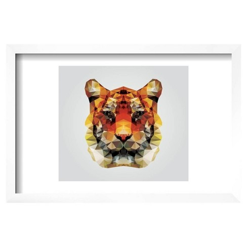 "Geometric Polygon Tiger Head, Triangle Pattern Design, Vector Illustration by BlueLela Framed Poster 19""x13"" - Art.Com - image 1 of 2"