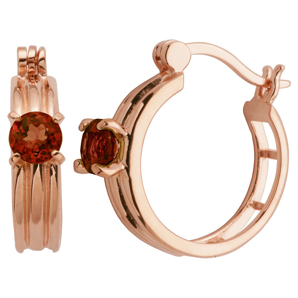 Image of 14k Rose Gold Plated Sterling Silver Genuine Garnet Hoop Earrings, Women's, Pink Red