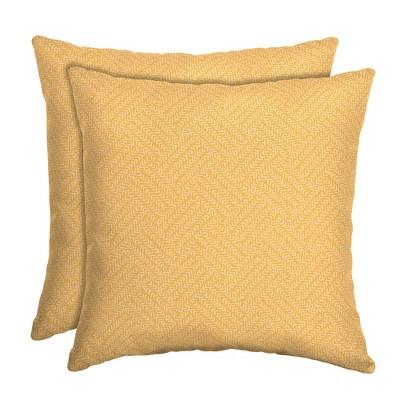 2pk Shirt Texture Square Outdoor Throw Pillows Yellow - Arden Selections