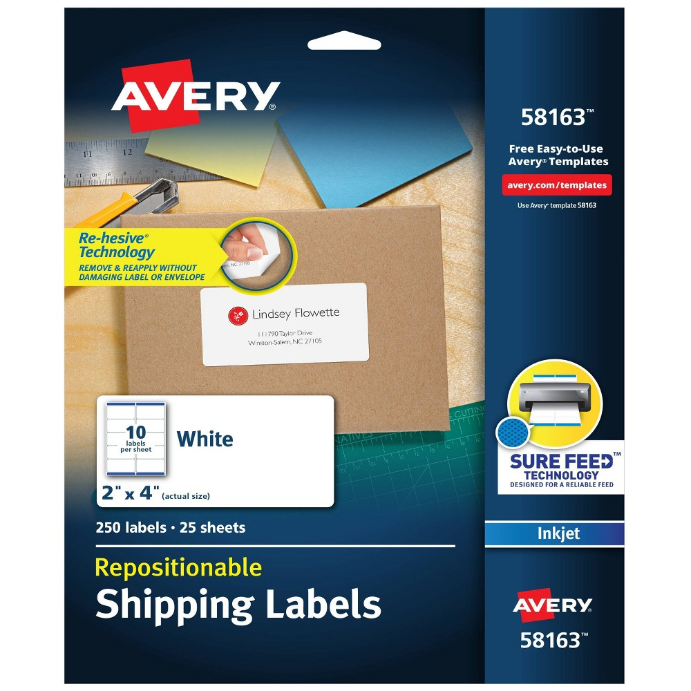 Image of Avery 2 x 4 Re-hesive Inkjet Labels- White (250 per Pack)