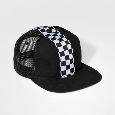 Boys' Checker Stripe Baseball Hat - art class™ Black One Size - image 1 of 2