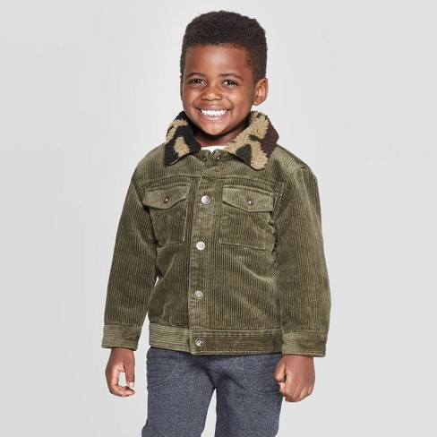 Toddler Boys' Corduroy Jacket with Camo Sherpa Collar - art class™ Olive - image 1 of 3